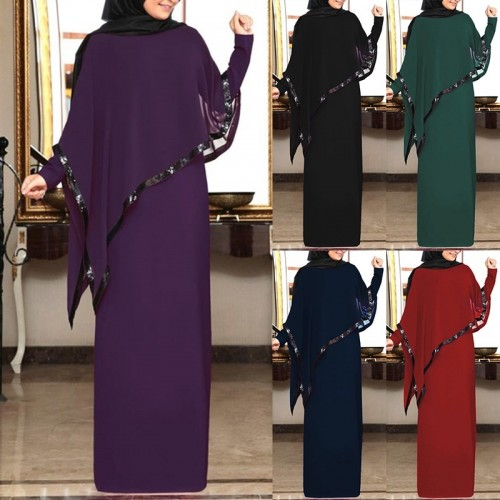 Muslim Elegant Dress Women Abaya Long Sleeve Loose Dress Islamic Female Clothing CL200824W02