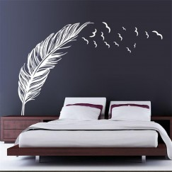 3d Flying feather wall sticker home decor Living room home decoration wallpaper wall sticker Bedroom deco