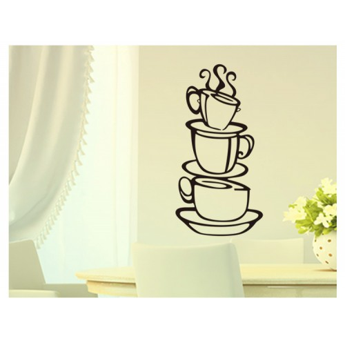 3 coffee cups creative wall art decal removable vinyl wall sticker DIY home decor wall art kitchen wall paper house decoration#2367