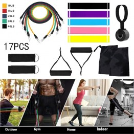 17pcs / Set Natural Rubber Latex Fitness Re sistance Bands Exercise Elastic Pull String Door Anchor Ankle Straps Foam Handles