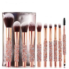 New Style 10 Diamond Set Makeup Brush Diamond Makeup Brush Set Wrapped Diamond Band Bag Full Set Beauty Brush