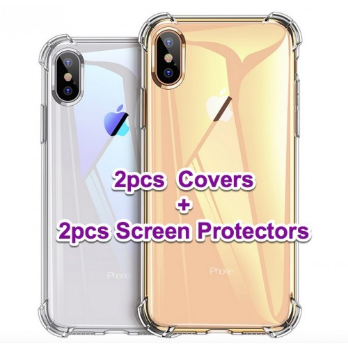 [2sets] Luxury Shockproof Silicone Phone Case For iPhone X XS XR XS Max 8 7 Plus 6 6S Plus 5 5S Case Transparent Protection Back Cover + screen protector