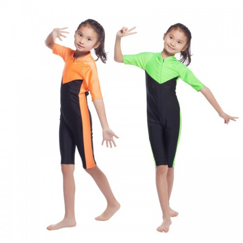 Children Girl Muslim Islamic Swimwear Conservative Swimsuit Orange Green One Piece Patchwork # CL170217C01