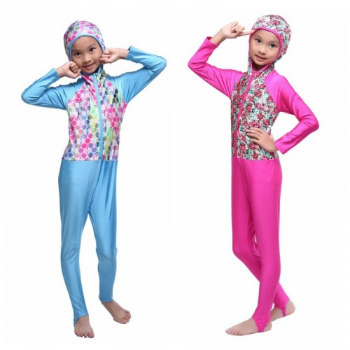 Children Girl Muslim Islamic Swimwear Conservative Swimsuit Yellow Pink One Piece Patchwork # CL170217C03