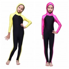 Children Girl Muslim Islamic Swimwear Conservative Swimsuit Pink Yellow One Piece Patchwork # CL170217C04