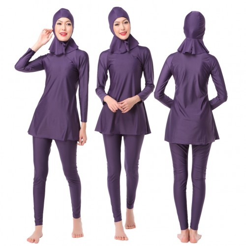 Muslim Women Conservative Swimwear Full Cover Islamic Soild Beachwear Swimsuit 3 piece # CL170217W2