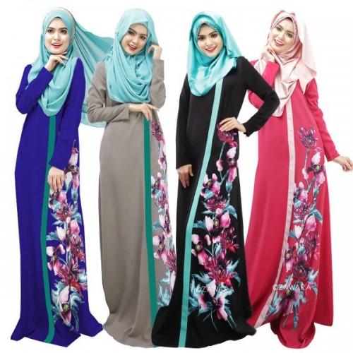 High Quality Big Size Print Floral Malaysia Muslim Abaya Robe Long Women Dress Turkish Jilbab Kaftan Clothes#CL170329W01