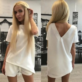 2017 New Fashion Summer Ladies Set Russian Pure Color Leisure Short Two Piece Outfit Pants Comfortable Home Suits#CL170529W07