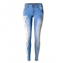 Women Fashion Side Lace Jeans Hollow Out Skinny Denim Jeans Woman Pencil Pants Patchwork Trousers for Women Ropa Mujer #CL170807W01