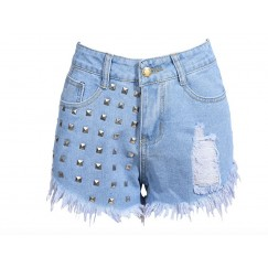 Women`s Fashion Hot Sexy High Waist Metal Rivets Studded Ripped Denim Short Shorts For Woman  # CL170807W04