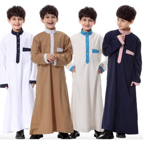 Kids Kaftan Abaya Boy Jubba Islamic Robes Muslim Jubba Thobe Clothing Islam Apparel Clothing Muslim Male Dress Islamic#CL170913C02