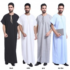 Arab Clothing Men Jubba Thobe Muslim Islamic Clothing Men Plus Size Malaysian Indian Robe Muslim Men Clothing Kaftan Dubai #CL170913M01
