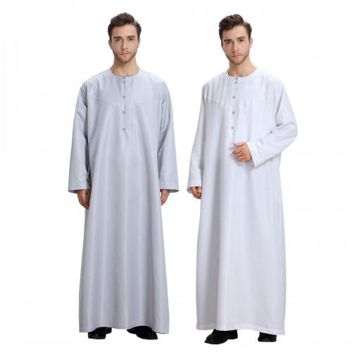 Fashion Muslim Clothing Men Robes Arab Dubai Indian Middle East Islamic Man Thobe Kaftan #CL17091301M04