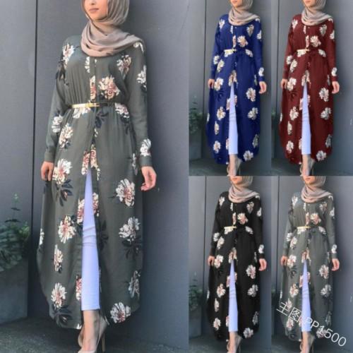 Muslim Elegant Dress Women Abaya Flower Dress Long Sleeve Loose Dress Islamic Female Clothing CL200824W01