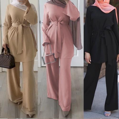 Muslim Women Sets Abaya Suits Top and Pants set CL200824W03