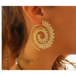 Earrings Exaggerated Gold Silver Whirlpool Gear Earrings for Women Jewelry