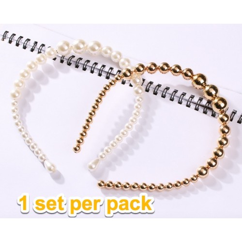 European and American New Fashion Pearl Bezel Turban Women Non-slip Headbands Hairbands Girls Hair Accessories Headwear