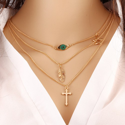 2019 European American Summer Explosion Models Alloy Eye Cross Star Women's Personality Necklace Jewelry Gift Jewelry #CLA190514W05