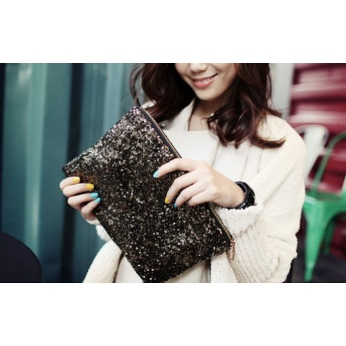 Women Shiny Sequins Dazzling Glitter Bling Evening Clutch Party Bag Handbag
