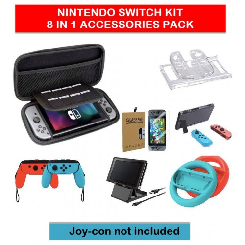 Switch Accessories Bundle - Nintendo switch Case & Screen Protector, Hard Case,  Grip cases, Switch Wheels, Games Holder, Charge cable