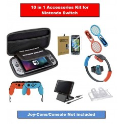 Switch Accessories Sport Bundle - Nintendo switch Case & Screen Protector, Hard Case,  Grip cases, Tennis rackets, Ring-con,Games Holder, Charge cable