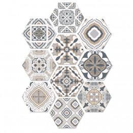 10pcs/lot Waterproof Hexagon Stickers DIY Self Adhesive Tile Art Wall Decal Sticker Kitchen Bathroom Anti-slip Floor Stickers #HD00002529OT
