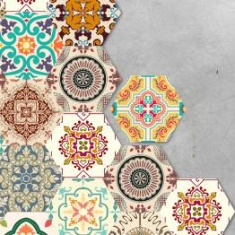 10pcs/lot Waterproof Hexagon Stickers DIY Self Adhesive Tile Art Wall Decal Sticker Kitchen Bathroom Anti-slip Floor Stickers #HD00002530OT