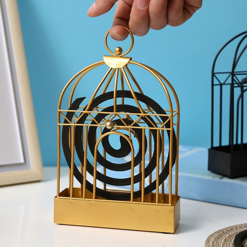[2pcs/set]Creative Mosquito Coil Holder Nordic Style Birdcage Shape Summer Day Iron Mosquito Repellent Incenses Rack Plate Home Decoration