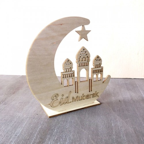 Natural Wood Eid Mubarak Muslim Home Decoration Wooden Ornament Gifts Moon Star Building Architecture Classic Hollow Decor * with tracking number*