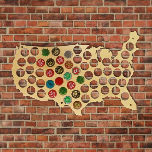 1Piece Creative Wooden Beer Cap Map Beer Bottle Cap USA Display Map Board Wall Art Club Decor Gift For Cap Collectors Beer Lover