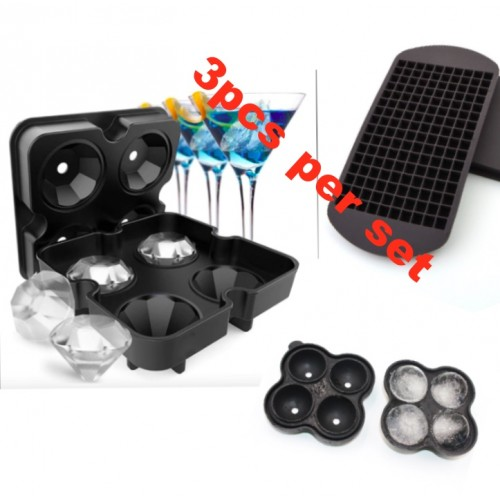[3pcs/set] Assorted style Diamond ice Tray ice Ball Maker and 160 Grids 1X1cm Silicone Fruit Ice Cube Maker DIY Creative Small Ice Cube Mold Square Shape