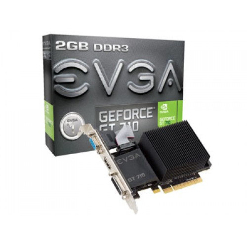 EVGA GeForce GT 710 2GB DDR3 64bit PCI-Express Dual Slot PaAAICW VGA/DVI-D/HDMI Graphics Card, Model 02G-P3-2712-KR