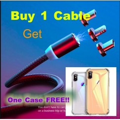 360 LED Magnetic USB a Micro USB Cable Charger for iPhone XR XS MAX X 8 7 cable del cargador del imán del teléfono móvil 6 Plus + free case