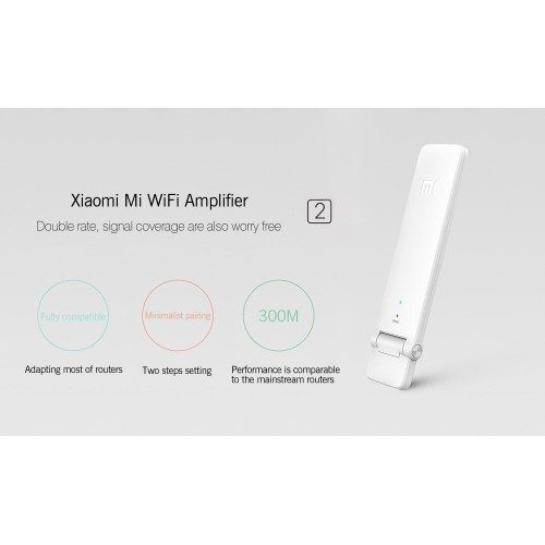 Two Xiaomi Mi Wireless Wifi Amplifier 2 300Mbps Repeater2 Extender Portable Mini Router Wi-Fi Expander Signal