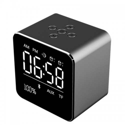 Mini Wireless V9 Bluetooth Speaker Mirror Display Dual Alarm Clock Subwoofer Bluetooth Support AUX TF Crad Speaker