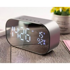 S2 Bluetooth 4.2 Stereo Speaker FM Radio Hands-Free Call Desktop Alarm Clock LED Mirror Display Mini Portable Wireless Speakers