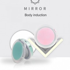 LED Lighted Mini Makeup Mirror 3X Magnifying Compact Travel Portable Sensing Lighting Makeup Mirror
