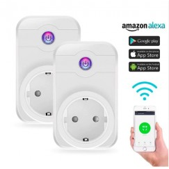2 pcs Smart Socket WiFi EU Plug Wifi Outlets WiFi Socket Adapter APP Timing Control Homekit Compatible with Amazon Alexa Google Home