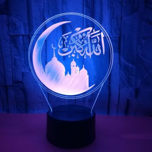 Muslim Allah 3D Night Light Islam Muhammad 7 Color Change Visual Acrylic Home Deceration Desk Customize Lamps #EA00002576OT_2