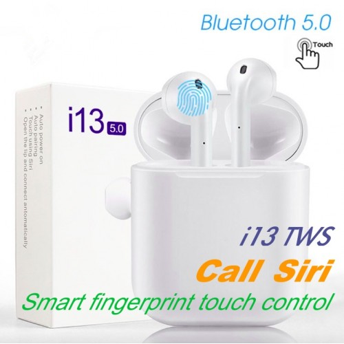 New i13 TWS mini bluetooth earphone Wireless Headphones Touch Control Earbuds 5.0 3D Super Bass Earphone for All Smart Phone