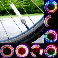Fashion 2 x Bike Bicycle Wheel Tire Valve Cap Spoke Neon 5 LED Light Lamp Accessories Wholesale New Arrival with tracking number