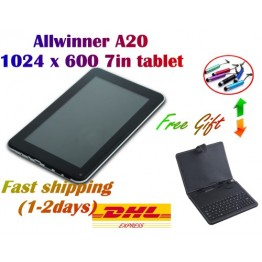 !! Special offer !! 7 inch allwinner A20 dual core cpu mali400 gpu android 4.2 Capacitive 1GB ram  4/8GB Dual Camera WIFI + DHL shipment + gift